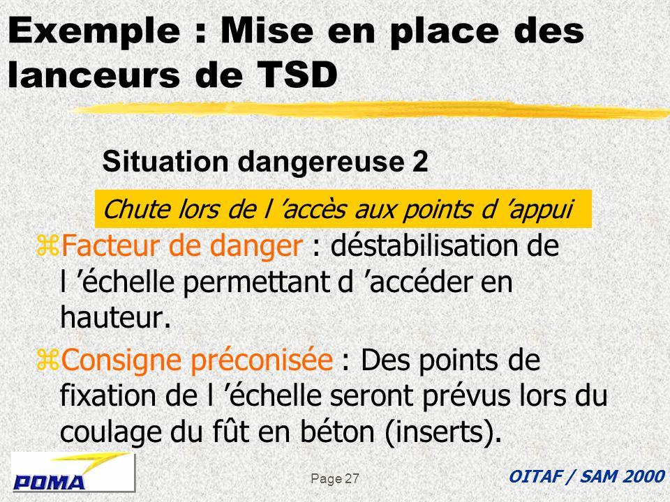 Page 26 Exemple : «Mise en place des lanceurs de TSD» zFacteur de danger : mouvement intempestif de la grue zConsigne préconisée : des « tulipes » de