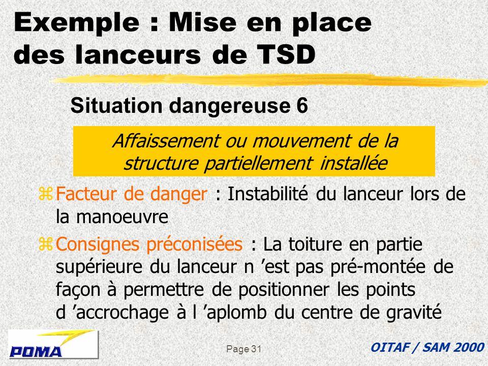 Page 30 zFacteur de danger : Résistance insuffisante de la structure en général ou aux points d accrochage zConsignes préconisées : yLa structure est