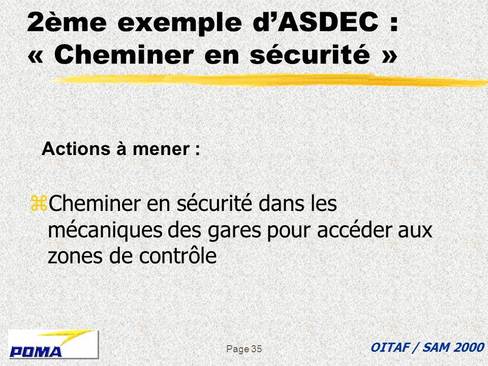 Page 34 Introduction à la page 35 OITAF / SAM 2000 Le précédent exemple est un extrait d une analyse qui traitait d une opération de montage antérieur