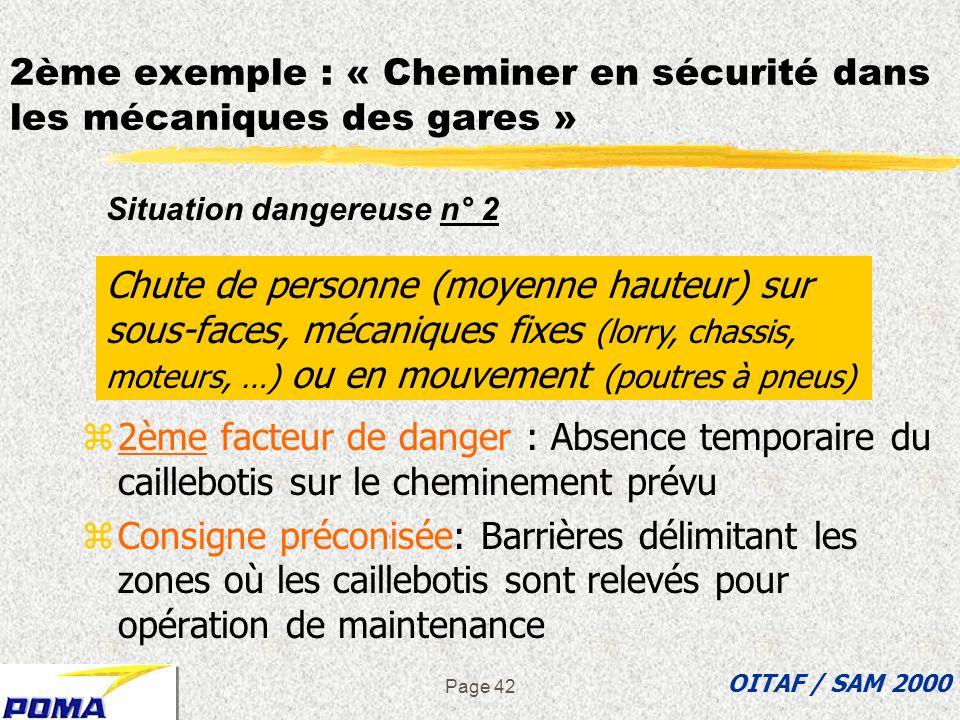 Page 41 z1er facteur de danger : zones de cheminement non délimitées zConsigne préconisée: Garde-corps de part et d autre du caillebotis Chute de pers