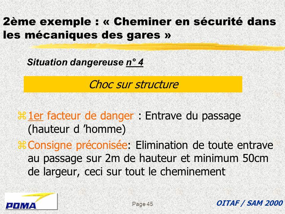 Page 44 2ème exemple : « Cheminer en sécurité dans les mécaniques des gares » z2ème facteur de danger : Entraves au sol zConsigne préconisée: Structur