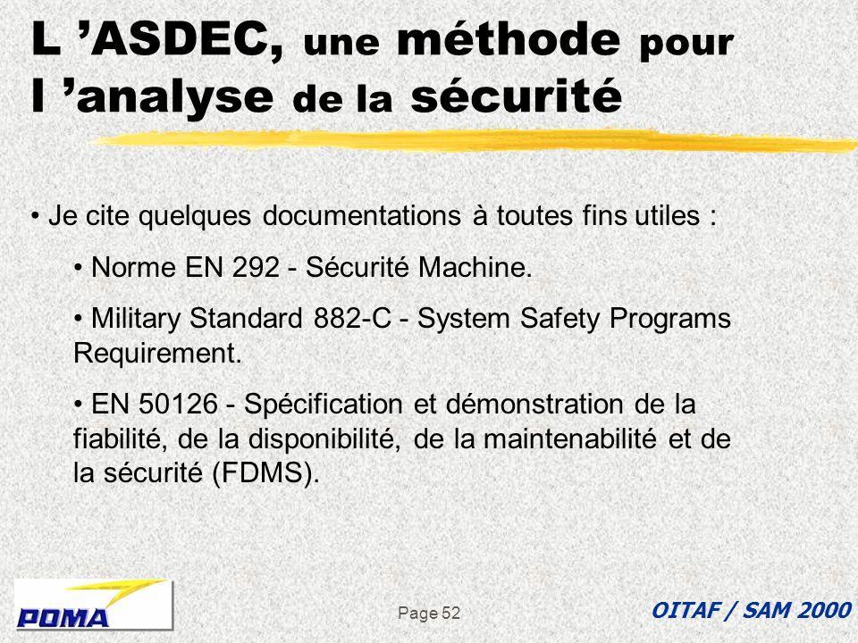 Page 51 L ASDEC, une méthode pour l analyse de la sécurité OITAF / SAM 2000 Question : Existe-t-il une norme qui reprend précisément le thème de cet e