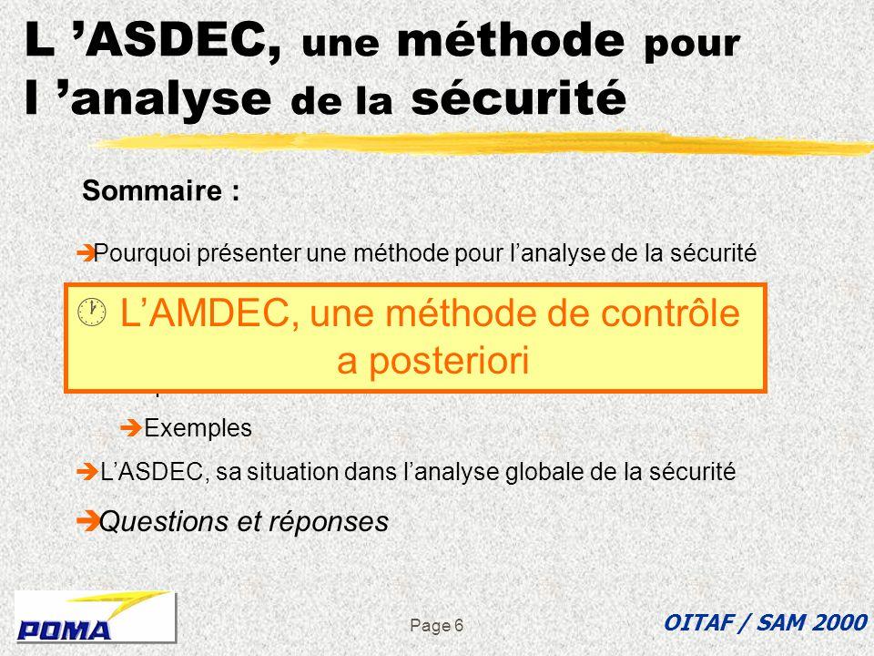 Page 5 Pourquoi présenter une méthode pour lanalyse de la sécurité zNormes et règlements zRetour d expérience zMéthodes internes d investigation z Exp