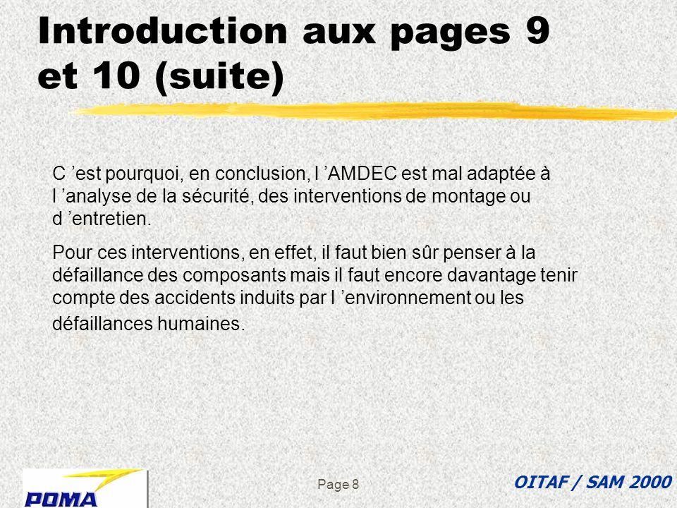 Page 8 Introduction aux pages 9 et 10 (suite) OITAF / SAM 2000 C est pourquoi, en conclusion, l AMDEC est mal adaptée à l analyse de la sécurité, des interventions de montage ou d entretien.