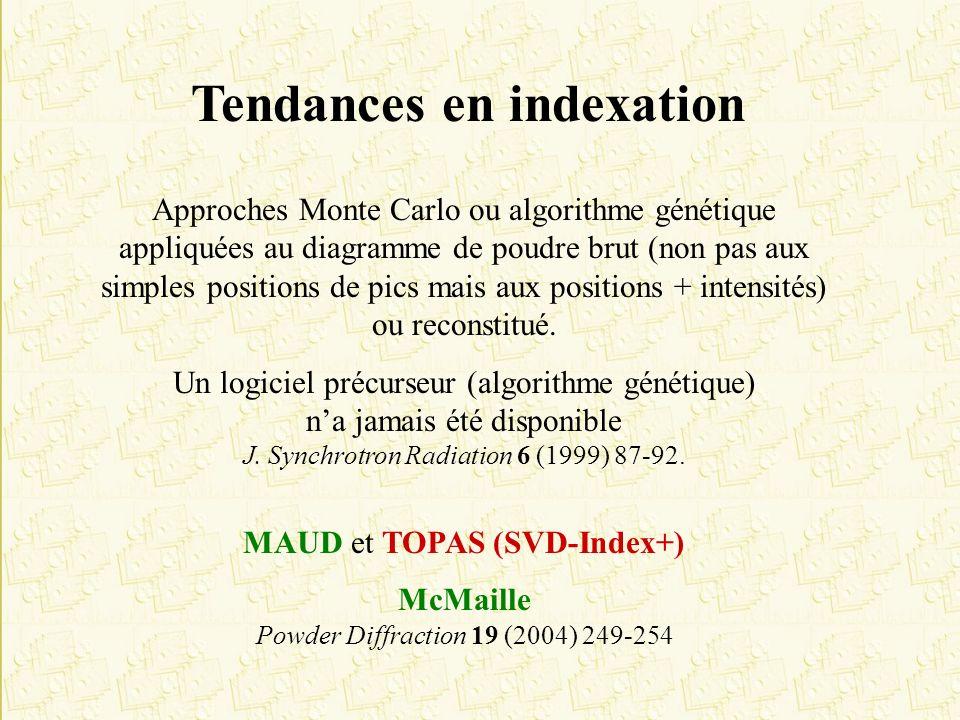 Tendances en indexation Approches Monte Carlo ou algorithme génétique appliquées au diagramme de poudre brut (non pas aux simples positions de pics ma