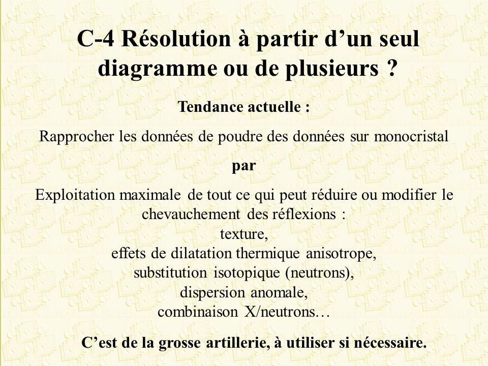 C-4 Résolution à partir dun seul diagramme ou de plusieurs ? Tendance actuelle : Rapprocher les données de poudre des données sur monocristal par Expl