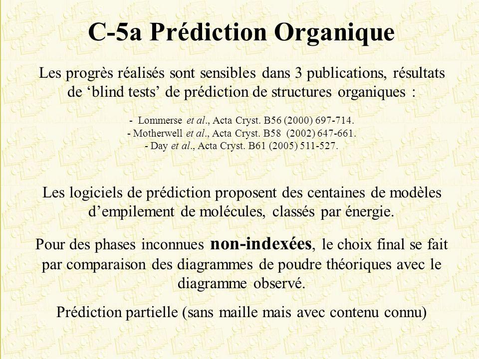 C-5a Prédiction Organique Les progrès réalisés sont sensibles dans 3 publications, résultats de blind tests de prédiction de structures organiques : -
