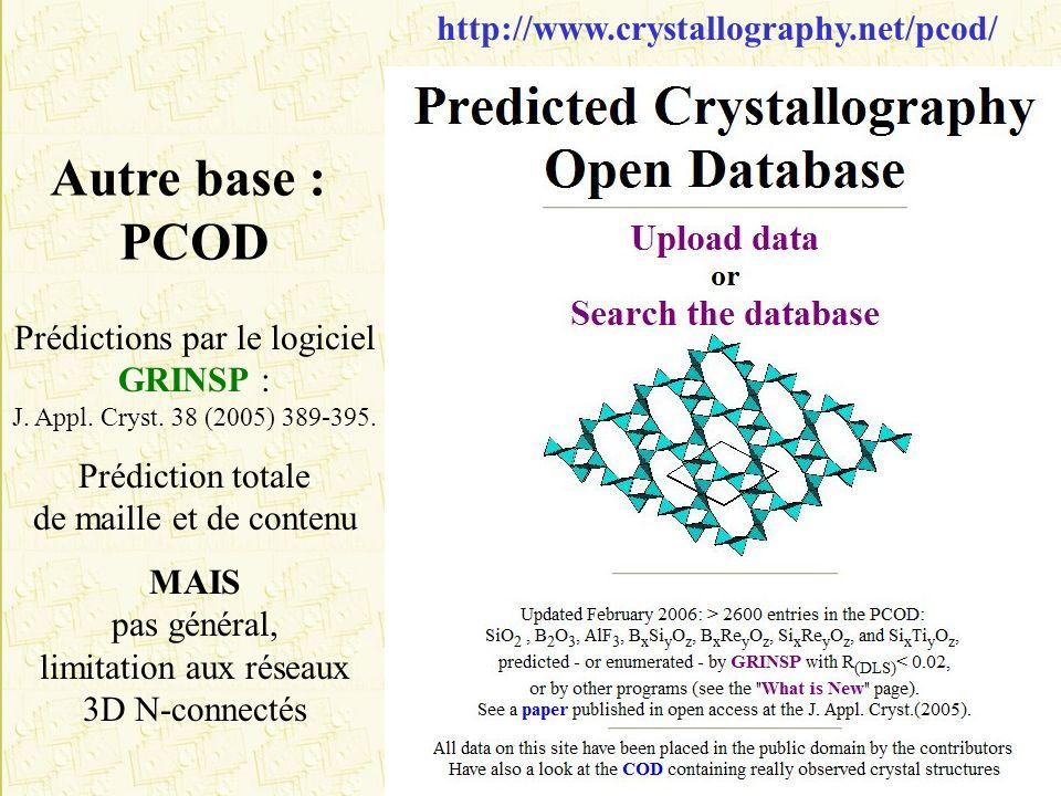http://www.crystallography.net/pcod/ Prédictions par le logiciel GRINSP : J. Appl. Cryst. 38 (2005) 389-395. Prédiction totale de maille et de contenu