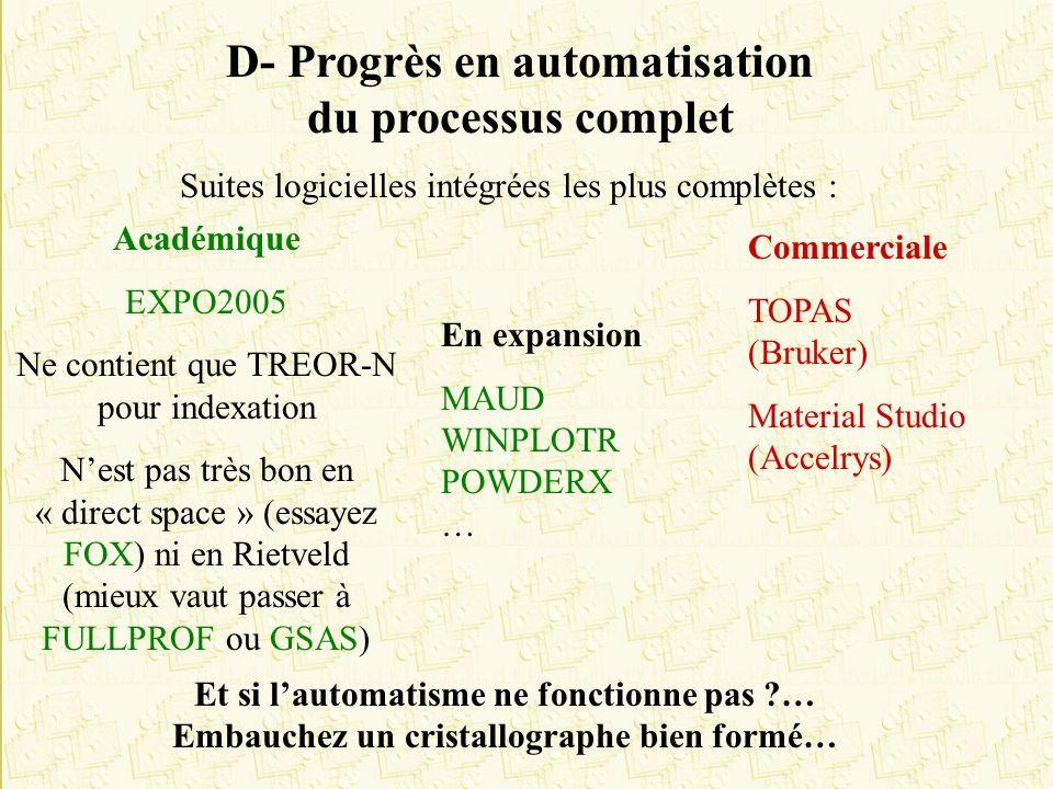 D- Progrès en automatisation du processus complet Suites logicielles intégrées les plus complètes : Académique EXPO2005 Ne contient que TREOR-N pour i
