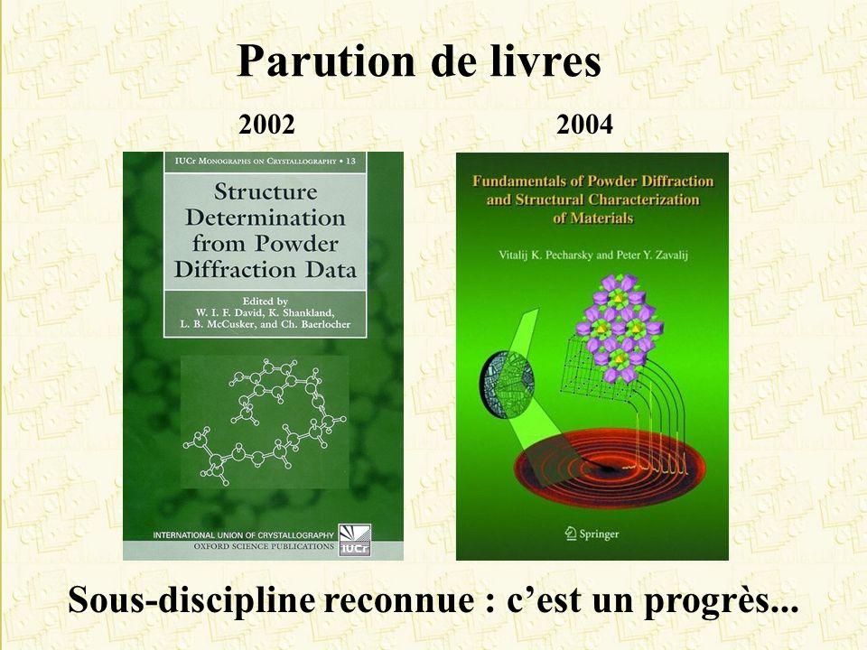 Parution de livres Sous-discipline reconnue : cest un progrès... 20022004