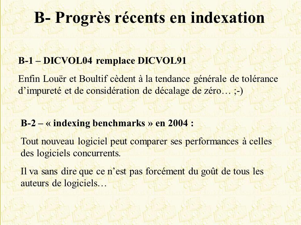 B- Progrès récents en indexation B-1 – DICVOL04 remplace DICVOL91 Enfin Louër et Boultif cèdent à la tendance générale de tolérance dimpureté et de co