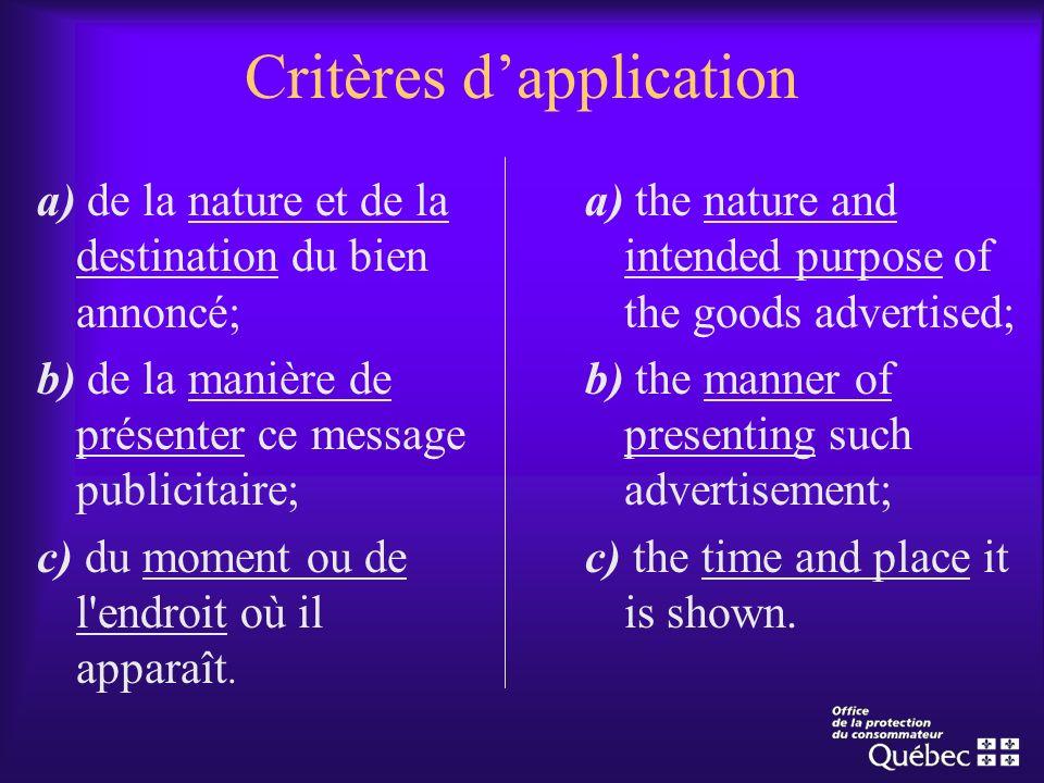 Critères dapplication a) de la nature et de la destination du bien annoncé; b) de la manière de présenter ce message publicitaire; c) du moment ou de