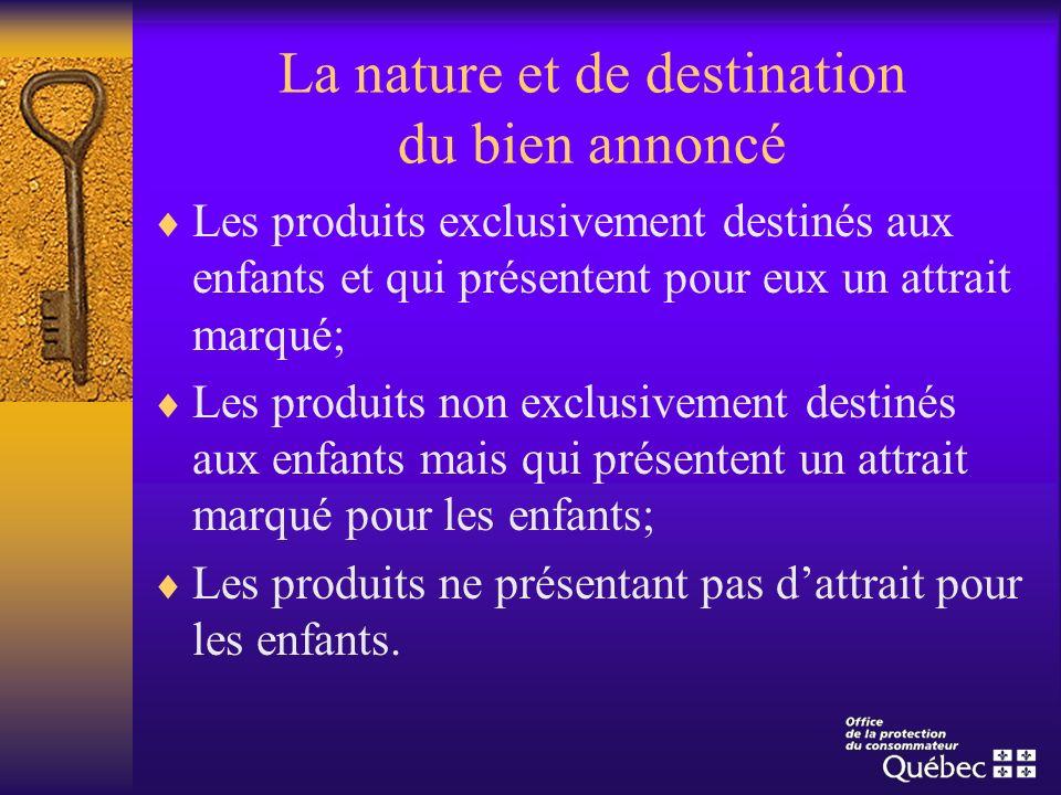 La nature et de destination du bien annoncé Les produits exclusivement destinés aux enfants et qui présentent pour eux un attrait marqué; Les produits