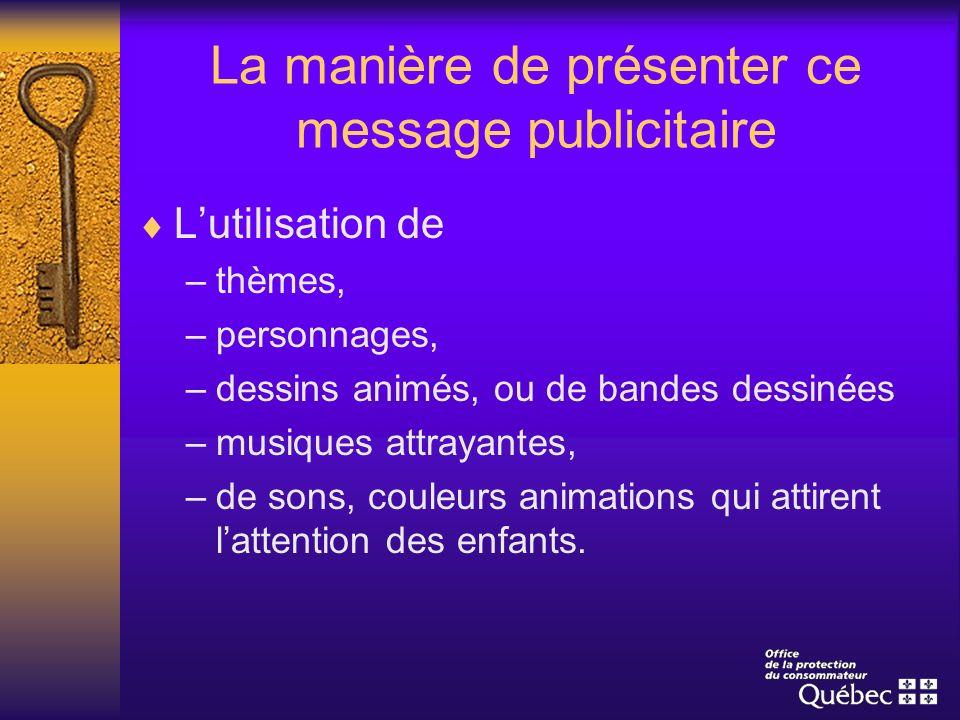 La manière de présenter ce message publicitaire Lutilisation de –thèmes, –personnages, –dessins animés, ou de bandes dessinées –musiques attrayantes,