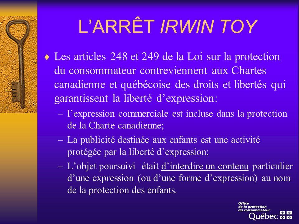 LARRÊT IRWIN TOY Les articles 248 et 249 de la Loi sur la protection du consommateur contreviennent aux Chartes canadienne et québécoise des droits et