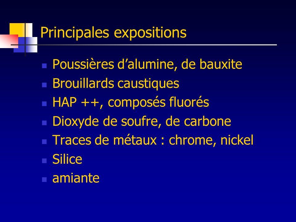 Principales expositions Poussières dalumine, de bauxite Brouillards caustiques HAP ++, composés fluorés Dioxyde de soufre, de carbone Traces de métaux