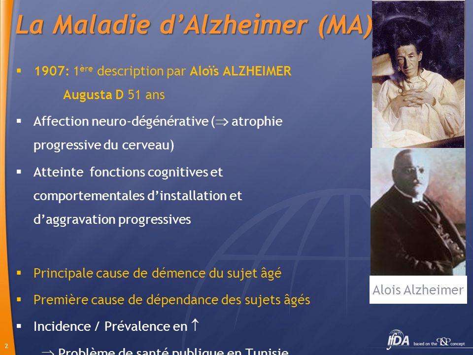 2 La Maladie dAlzheimer (MA) 1907: 1 ère description par Aloïs ALZHEIMER Augusta D 51 ans Affection neuro-dégénérative ( atrophie progressive du cerve
