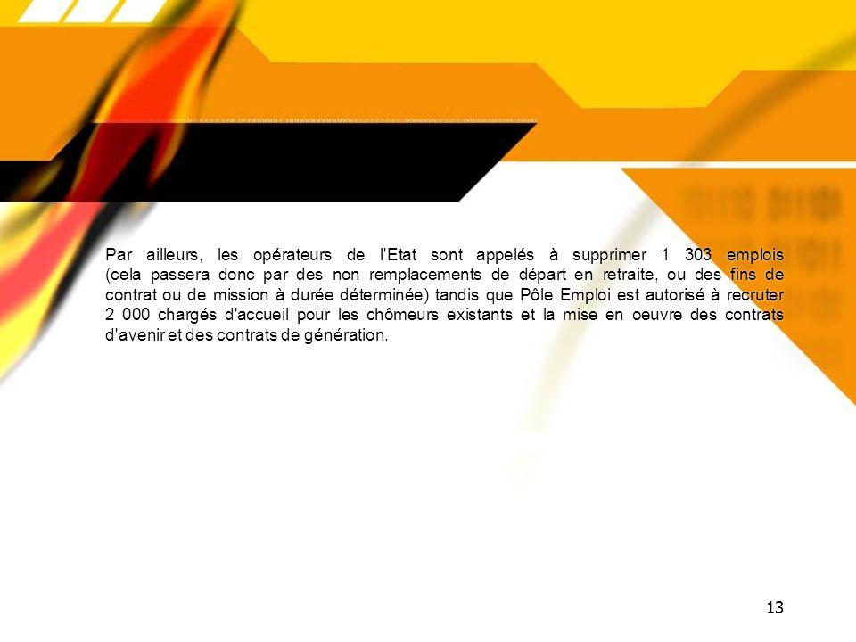 12 ÉQUILIBRE GÉNÉRAL DU BUDGET Défense7 234 emplois Finances publiques2 353 emplois Égalité des territoires et logement662 emplois Administration préf