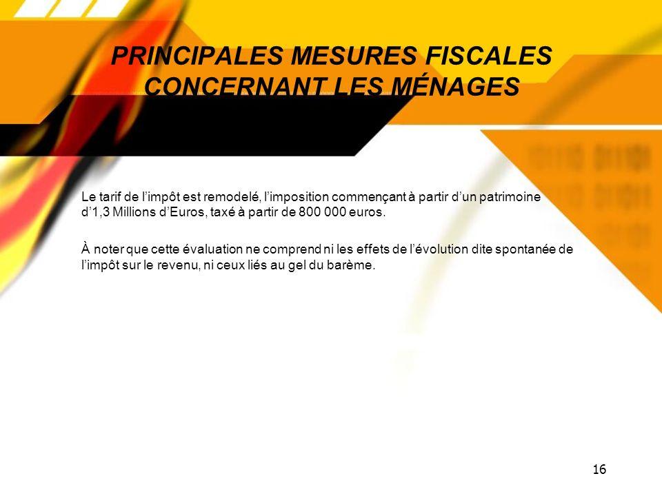 15 PRINCIPALES MESURES FISCALES CONCERNANT LES MÉNAGES Tranche dimposition à 45 %+ 320 Millions dEuros Décote, abattement impôts locaux- 345 Millions