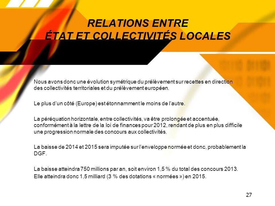 26 RELATIONS ENTRE ÉTAT ET COLLECTIVITÉS LOCALES Comme nous lavons déjà pointé, les concours 2013 sont maintenus au niveau de 2012 pour ce qui est de