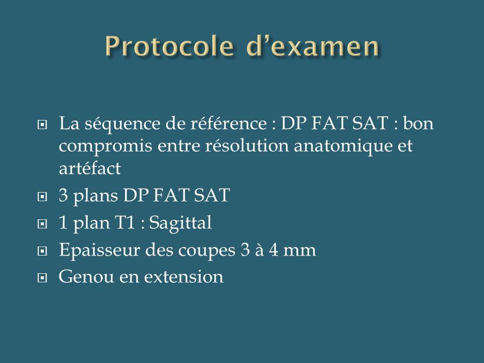 La séquence de référence : DP FAT SAT : bon compromis entre résolution anatomique et artéfact 3 plans DP FAT SAT 1 plan T1 : Sagittal Epaisseur des co