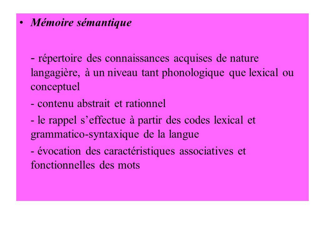 Mémoire sémantique - répertoire des connaissances acquises de nature langagière, à un niveau tant phonologique que lexical ou conceptuel - contenu abs