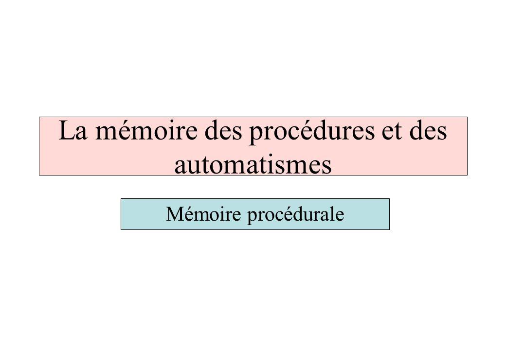 La mémoire des procédures et des automatismes Mémoire procédurale