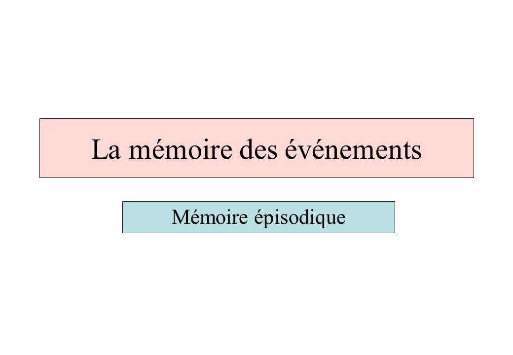 La mémoire des événements Mémoire épisodique