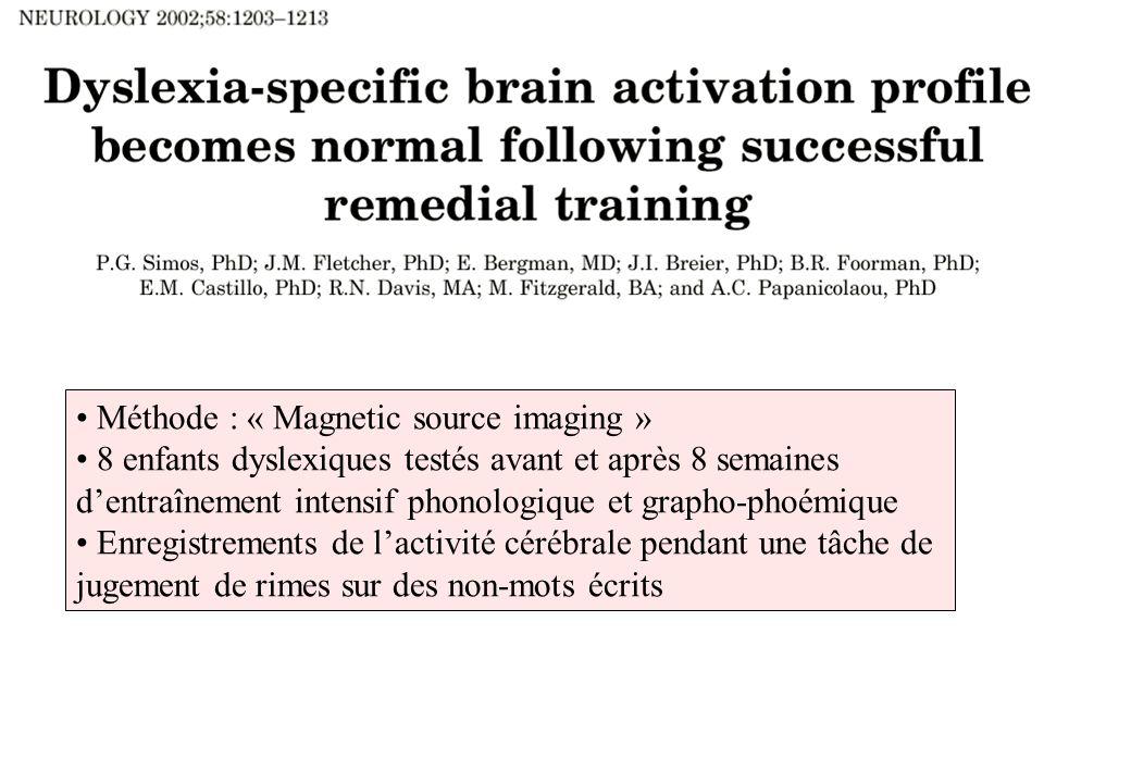 Méthode : « Magnetic source imaging » 8 enfants dyslexiques testés avant et après 8 semaines dentraînement intensif phonologique et grapho-phoémique E