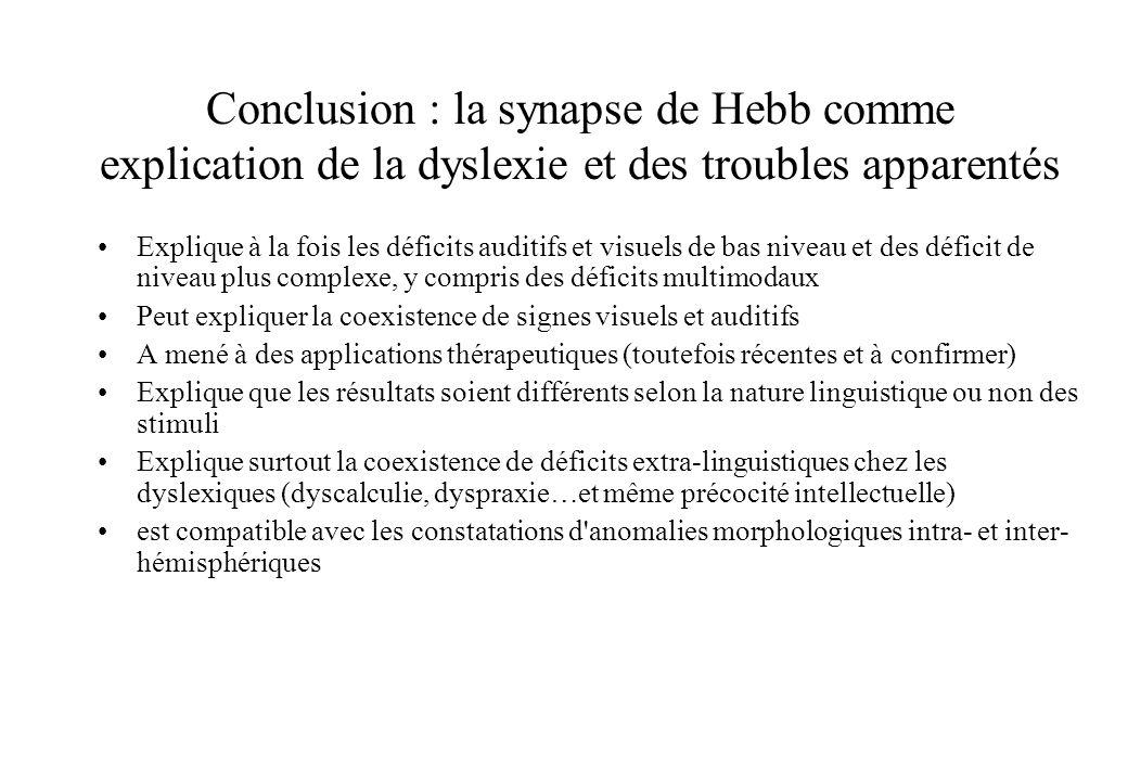 Conclusion : la synapse de Hebb comme explication de la dyslexie et des troubles apparentés Explique à la fois les déficits auditifs et visuels de bas