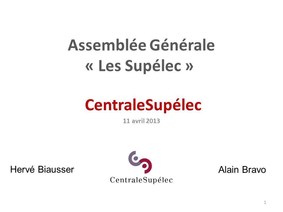 1 Assemblée Générale « Les Supélec » CentraleSupélec 11 avril 2013 Hervé Biausser Alain Bravo