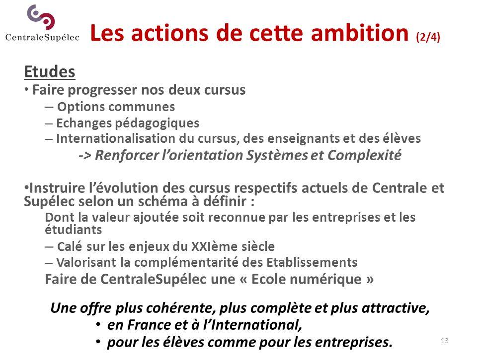 13 Les actions de cette ambition (2/4) Etudes Faire progresser nos deux cursus – Options communes – Echanges pédagogiques – Internationalisation du cu