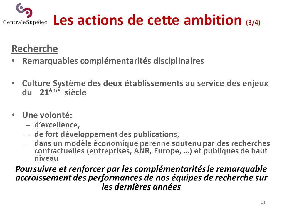 14 Les actions de cette ambition (3/4) Recherche Remarquables complémentarités disciplinaires Culture Système des deux établissements au service des e
