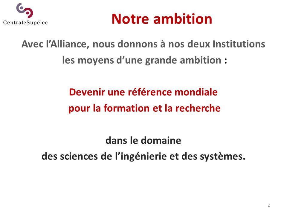 2 Notre ambition Avec lAlliance, nous donnons à nos deux Institutions les moyens dune grande ambition : Devenir une référence mondiale pour la formati