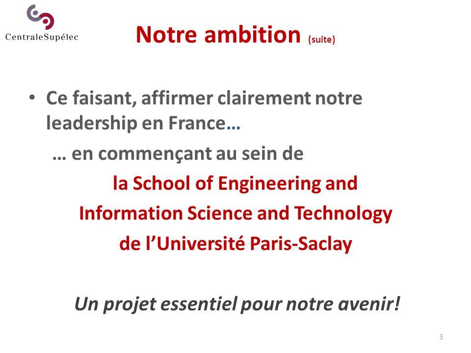 Notre ambition (suite) Ce faisant, affirmer clairement notre leadership en France… … en commençant au sein de la School of Engineering and Information