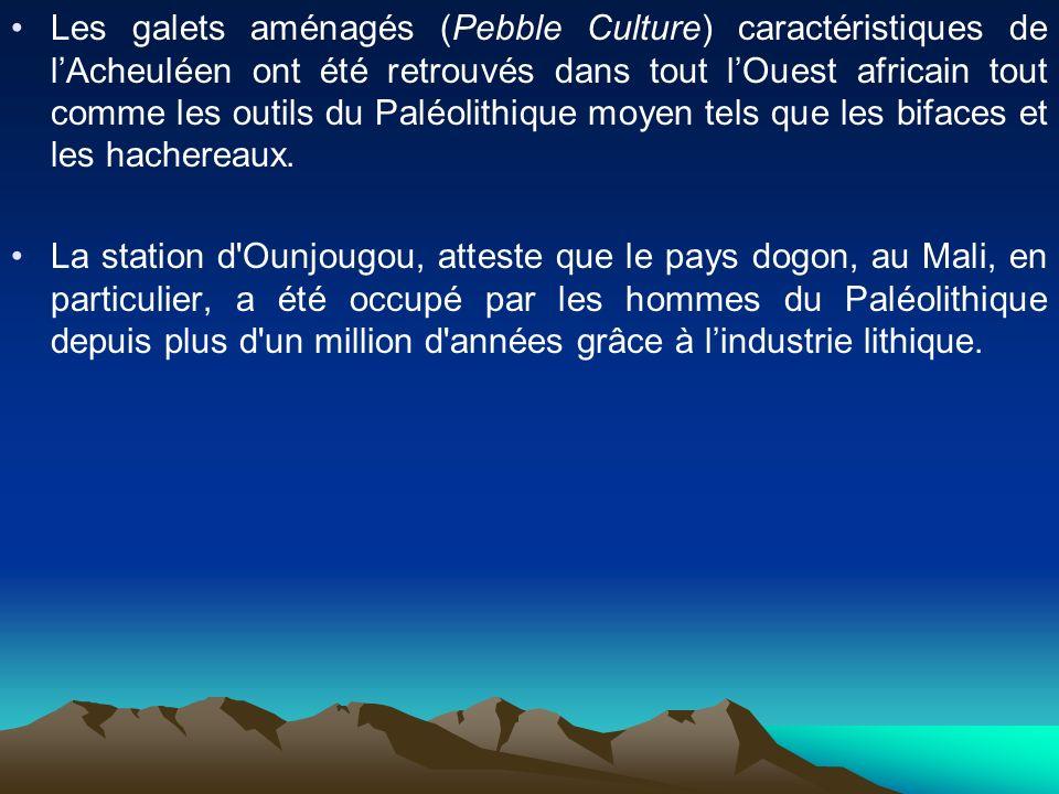 Les galets aménagés (Pebble Culture) caractéristiques de lAcheuléen ont été retrouvés dans tout lOuest africain tout comme les outils du Paléolithique