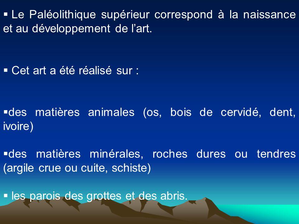 Le Paléolithique supérieur correspond à la naissance et au développement de lart. Cet art a été réalisé sur : des matières animales (os, bois de cervi