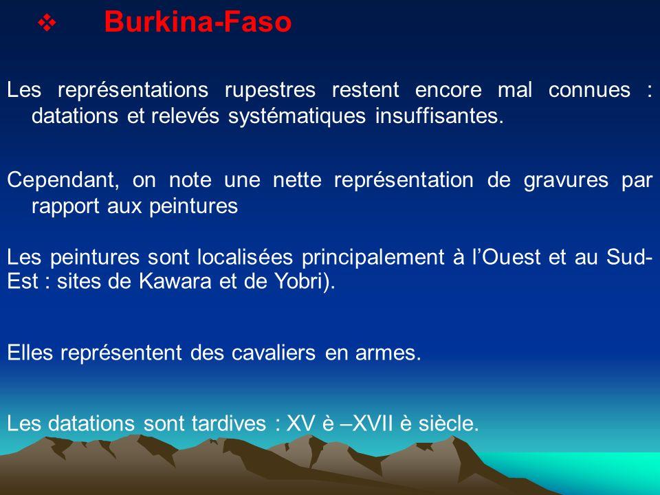 Burkina-Faso Les représentations rupestres restent encore mal connues : datations et relevés systématiques insuffisantes. Cependant, on note une nette