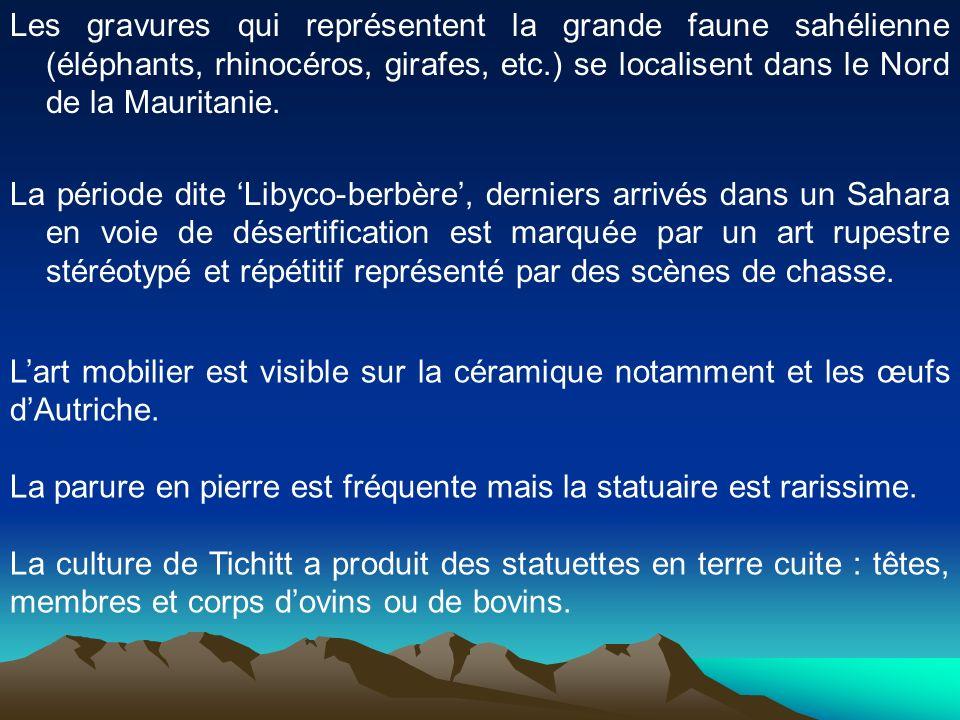 Les gravures qui représentent la grande faune sahélienne (éléphants, rhinocéros, girafes, etc.) se localisent dans le Nord de la Mauritanie. La périod