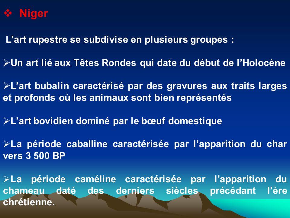 Niger Lart rupestre se subdivise en plusieurs groupes : Un art lié aux Têtes Rondes qui date du début de lHolocène Lart bubalin caractérisé par des gr