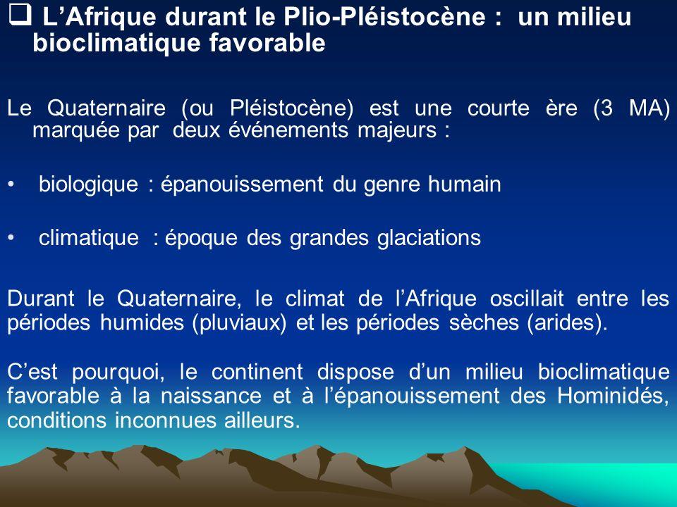 LAfrique durant le Plio-Pléistocène : un milieu bioclimatique favorable Le Quaternaire (ou Pléistocène) est une courte ère (3 MA) marquée par deux évé