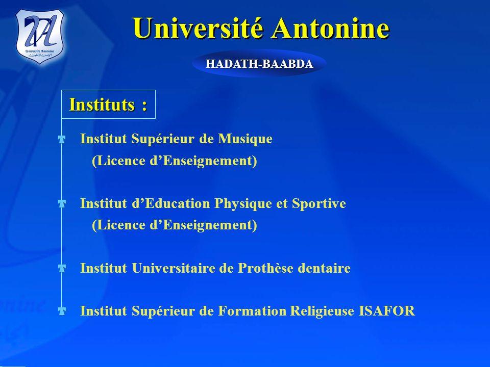 Université Antonine DIngénieurs en Informatique-Multimédia DIngénieurs en Informatique, Réseaux et Télécommunications DIngénieurs en Informatique-Syst
