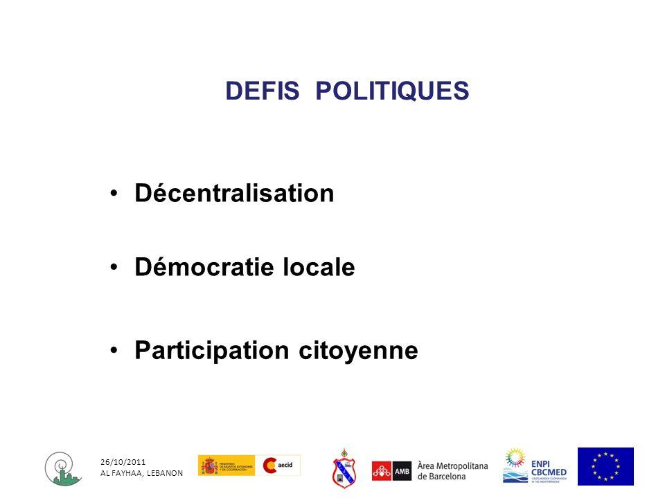 26/10/2011 AL FAYHAA, LEBANON Décentralisation Démocratie locale Participation citoyenne DEFIS POLITIQUES