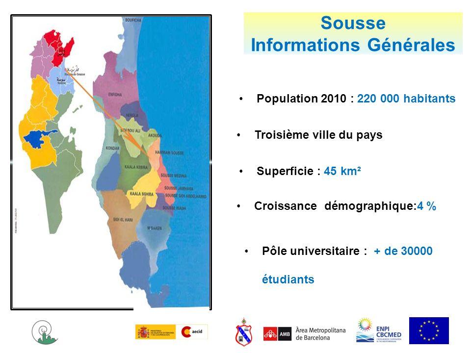 Sousse Informations Générales Troisième ville du pays Population 2010 : 220 000 habitants Croissance démographique:4 % Superficie : 45 km² Pôle univer