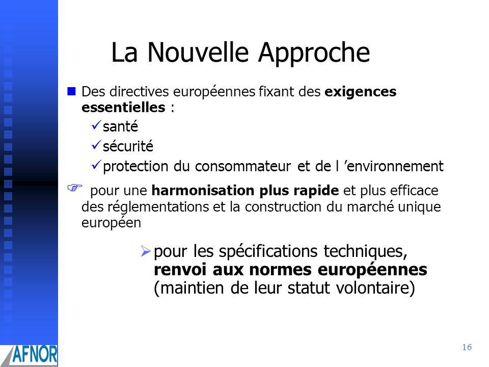 16 La Nouvelle Approche Des directives européennes fixant des exigences essentielles : santé sécurité protection du consommateur et de l environnement