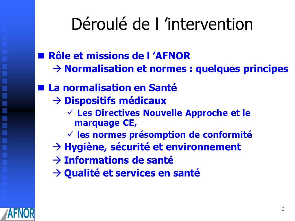 2 Déroulé de l intervention Rôle et missions de l AFNOR Normalisation et normes : quelques principes La normalisation en Santé Dispositifs médicaux Le