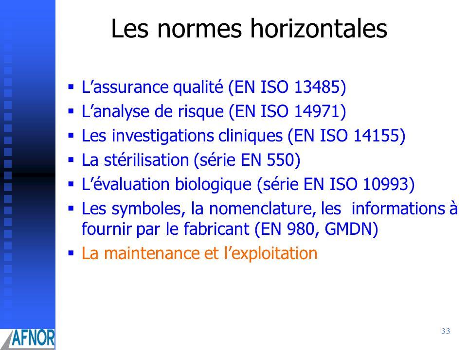33 Les normes horizontales Lassurance qualité (EN ISO 13485) Lanalyse de risque (EN ISO 14971) Les investigations cliniques (EN ISO 14155) La stérilis