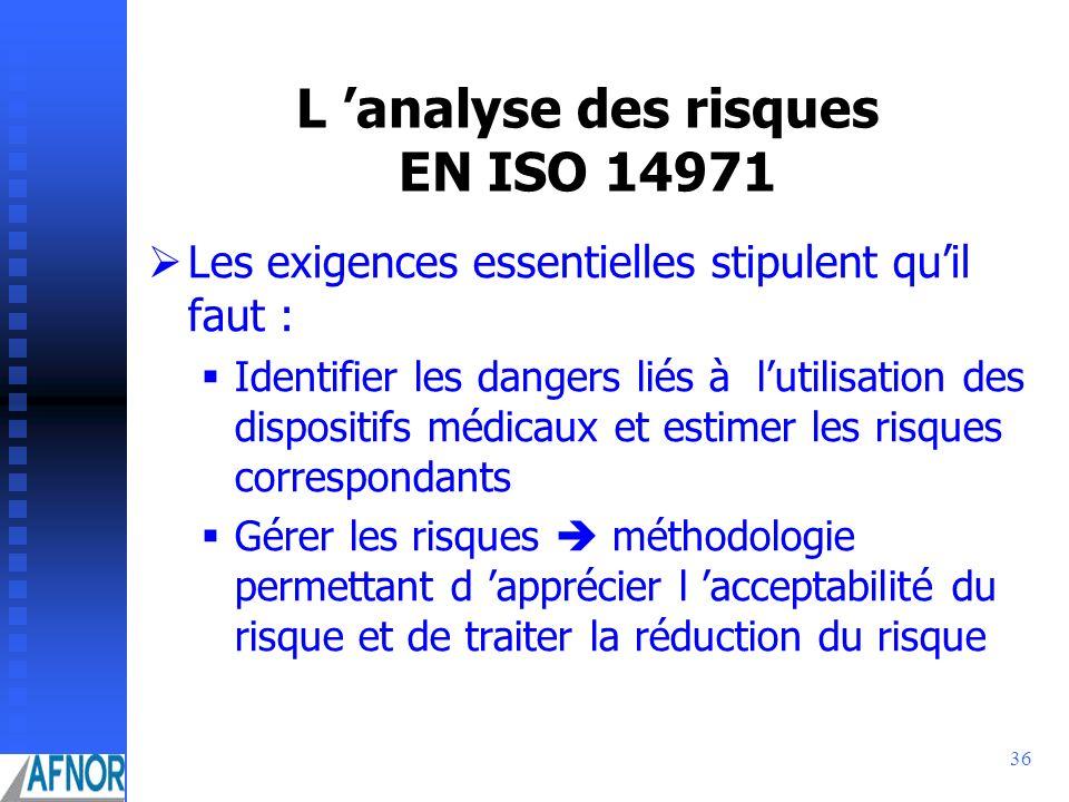 36 L analyse des risques EN ISO 14971 ØLes exigences essentielles stipulent quil faut : Identifier les dangers liés à lutilisation des dispositifs méd