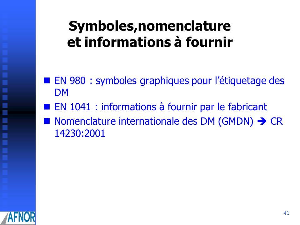 41 Symboles,nomenclature et informations à fournir EN 980 : symboles graphiques pour létiquetage des DM EN 1041 : informations à fournir par le fabric