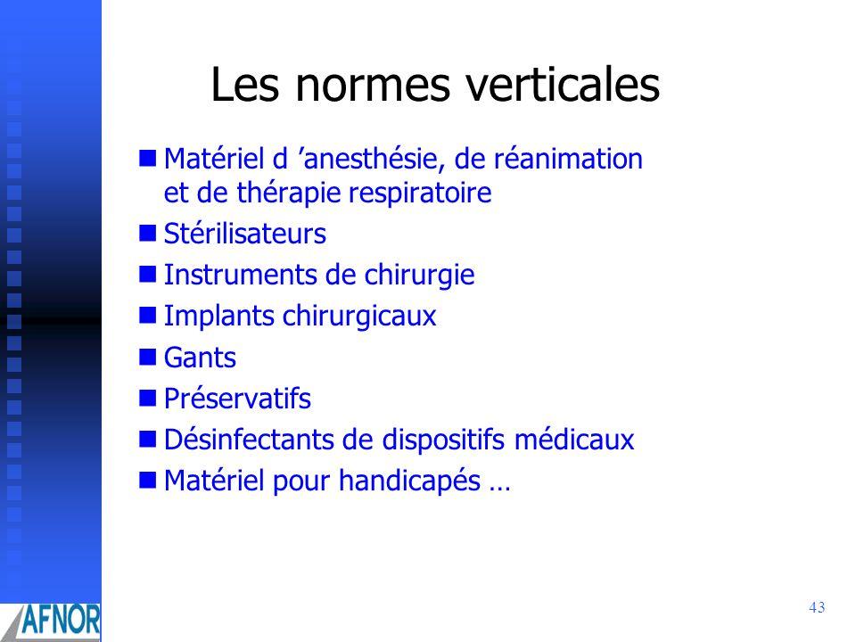 43 Les normes verticales Matériel d anesthésie, de réanimation et de thérapie respiratoire Stérilisateurs Instruments de chirurgie Implants chirurgica